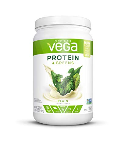 Vega Protein & Greens Plain Unsweetened (21 Servings, 20.7 Ounce) - Plant Based Protein Powder, Keto-Friendly, Gluten Free,  Non Dairy, Vegan, Non Soy, Stevia Free, Non GMO - (Packaging may vary) (Best Natural Vegan Protein Powder)