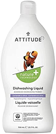 ATTITUDE Natural Dish Soap, ECOLOGO Certified Dishwashing Liquid, Hypoallergenic and Biodegradable, 700 mL, Co