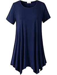 Lanmo Womens Swing Tunic Tops Loose Fit Comfy Flattering...
