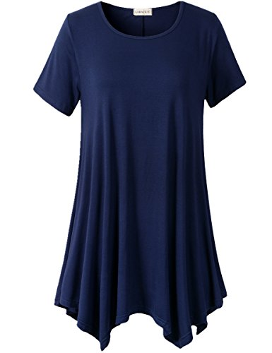(LARACE Womens Swing Tunic Tops Loose Fit Comfy Flattering T Shirt (3X, Navy Blue))