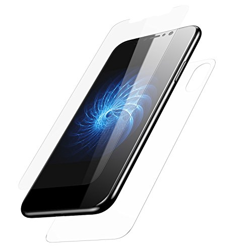 iPhone X Screen Protector, KuGi [ Front & Back Glass film suit ] Ultra-thin Toughened 9H Hardness HD Clear & Premium Full coverage Tempered Glass Screen protector for iphone x edition. (Transparent)