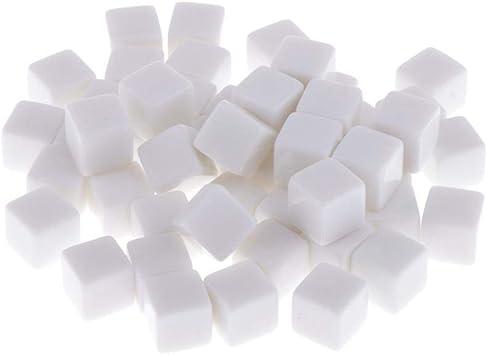 Baoblaze 50 Unidades Dados de Blanco 6 Caras Cubos Pequeños Accesorios para Juegos de Mesa - Blanco, 14mm: Amazon.es: Juguetes y juegos