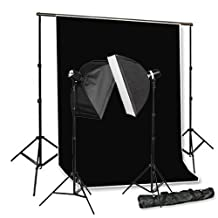 CowboyStudio Photo Studio Monolight Flash Lighting Kit - 2 Studio Flash/Strobe, 2 Softboxes, 1 Background Support System, 1 Muslin Backdrop & Carry Case