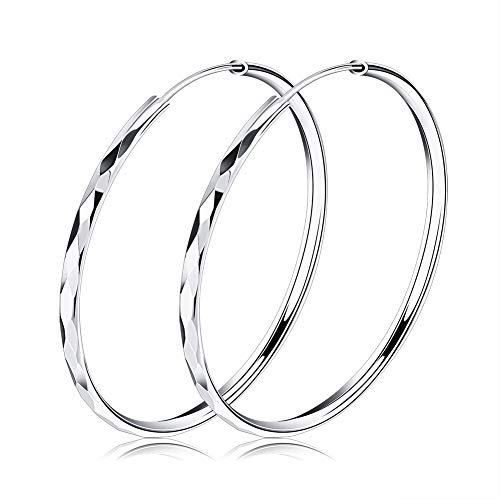 uPrimor Rhodium Plated 50mm Hollow Hoop Earrings with Diamond, Marquise, and Triangle Surfaces, Loop Round Earrings Set for Women and Girls (Round Marquise Earrings)