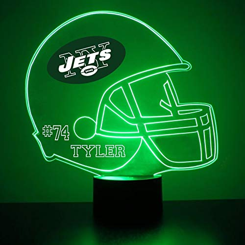 New York Jets Jersey (Mirror Magic Store New York Jets Football Helmet LED Night Light with Free Personalization - Night Lamp - Table Lamp - Featuring Licensed Decal)