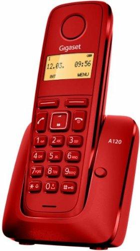 Gigaset A120. Teléfono inalámbrico, Agenda de 50 contactos, Pantalla iluminada. Color Rojo.