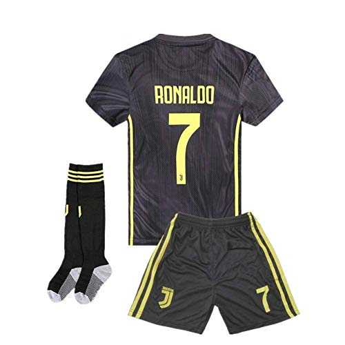 new concept 2639d c5619 2018-2019 Away C Ronaldo #7 Juventus Kids Or Youth Soccer Jersey & Shorts &  Socks Black 7-8Years/Size 22