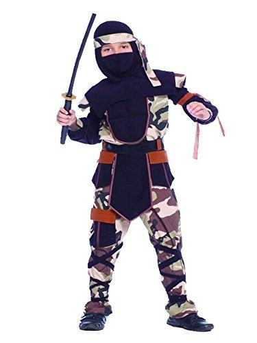Rubber Johnnies  Camo Ninja Costume, Kids, 8-10 & 10-12 Years Old, Warrior (10-12 Years)