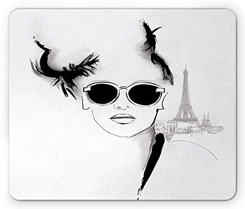 Girls Mouse Pad, Sketch of Pretty Model with Sunglasses in Paris Eiffel Tower Romantic, Standard Size Rectangle Non-Slip Rubber Mousepad, Black Light Grey White,9.8 x 11.8 x 0.118 Inches
