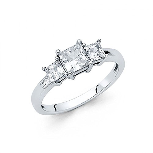 (American Set Co. 14k White Gold 3 Stone Princess Cut CZ Solitaire Engagement Ring)