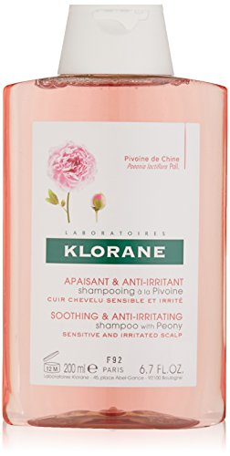 Klorane Shampoo with Peony, Soothing Relief for Dry Itchy Flaky Sensitive Scalp, pH Balanced, Provides Scalp Comfort, 6.7 oz.