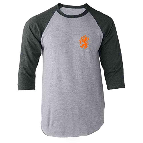 Dutch Soccer Retro National Team Holland Gray XL Raglan Baseball Tee Shirt
