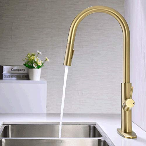 Brass Gold Kitchen Faucet KPF-1322MGPull Down Sprayer Single Handle 2-Way Pull Out Sprayer 10-inch Deck Plate Matte Brushed Gold TRUSTMI