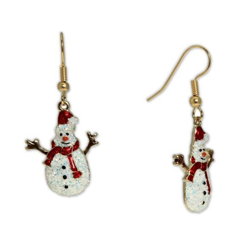 Glittery Snowman Wearing Santa Hat Earrings in Gold Tone, Holidays, Christmas by Autumn's Glory