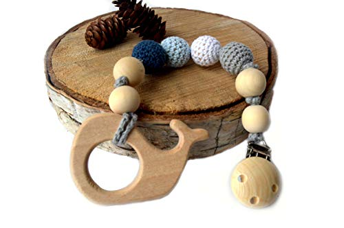 Natural Wooden Teething Toy Pacifier Holder Interchangeable Pendant- Dummy Clip