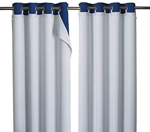 NICETOWN Cold Heat Light Noise Blocking Blackout Curtain Liners with Rings Easy to Open and Closed, No Chemical Smell Soft Privacy Liners for Living Room Curtains, 1 Pair, 50 x 80 Per Panel