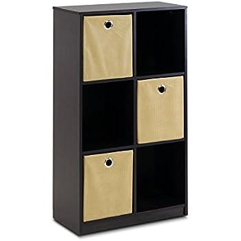 Furinno Econ 13087EX/LB Petite Storage Organizer Bookcase With Bins,  Espresso/Light Brown