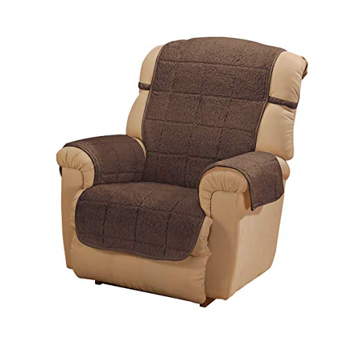 OakRidge Parker Sherpa Recliner Cover, Brown Water Resistant Polyester - 48