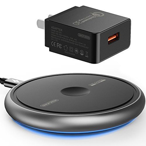 (Wireless Charger, Sinopuren 7.5W Fast Wireless Charging Pad Qi-Certified for iPhone Xs MAX/XR/XS/X/8/8 Plus Galaxy S9 S9 Plus S8 S8 Plus S7 Edge Note 8/5 All Qi-Enabled Phones (with QC3.0 Adapter))