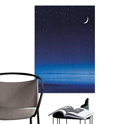 Williasm Poster Sticker Night Moon and Stars Over Santa Barbara Channel Infinity Foggy Pacific Ocean Dark Blue Sky Blue White Rental House Wall W20 x -