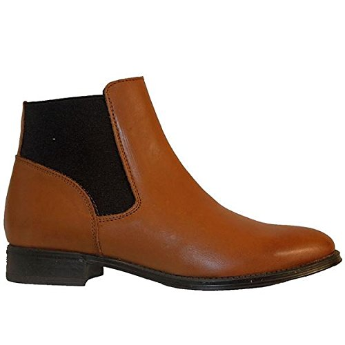 - Chelsea Crew Dario - Tan Leather Dual Gore Pull-On Flat Bootie - Size: '41 M EU'