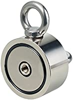 "Magnet for River Or Lake Fishing 2.36/"" Diameter 2.36 Combined 600 lbs Pulling Force Neodymium Fishing Magnets Round Neodymium Magnet with Eyebolt Double-Sided Magnetic"