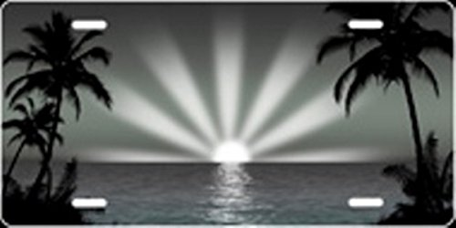 Grey/Black Sunburst Airbrush License Plate Free Personalization on Air Brush