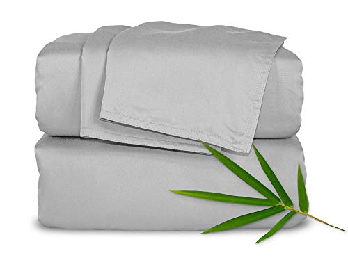 Pure Bamboo Sheets King 4pc Bed Sheet Set - 100% Bamboo Luxuriously Soft Bed Sheets (King, Silver ()