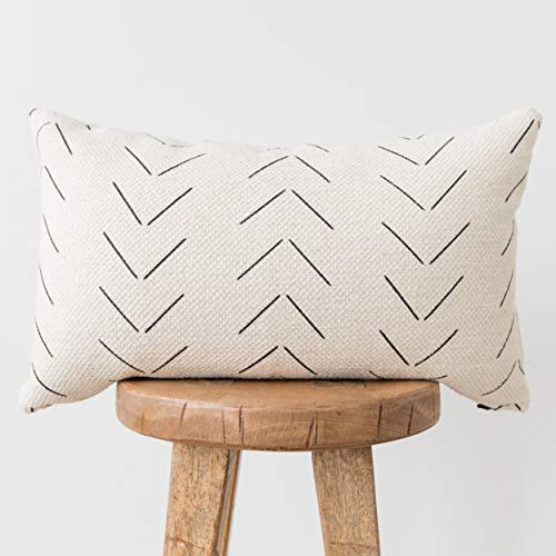 Woven Nook Decorative Lumbar Throw Pillow Cover ONLY for Couch, Sofa, or Bed 12x20 12x26 12x40 inch Modern Quality Design 100% Thick Woven Cotton Mudcloth MAZA Lumbar (12'' x 40'') (Throw Pillows Designer Decorative)