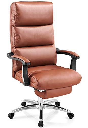 Ticova Leather Office Chair - High Back Executive Office Chair with Footrest and Ultra-Thick Padding - Reclining Computer Chair with Textured Nappa Grain Leather and Ergonomic Segmented Back, Brown