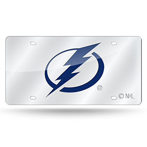 (Rico Industries NHL Tampa Bay Lightning Laser Inlaid Metal License Plate Tag, Silver)