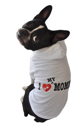 Ruff Ruff and Meow Dog Hoodie, I Love My Mommy, White, Extra-Large
