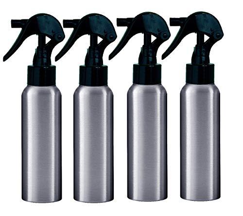 Aluminum Trigger Spray Bottles; 2.7 oz 4-Pack & Free Perfume Studio Sample Fragrance Oil. (Black Trigger Sprayer)