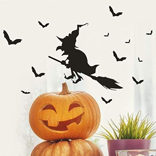 Wood Stripe Ash (Sinohomie Window Stickers Happy Halloween Pumpkins Spooky Cemetery Witch and Bats Tomb Wall Decals Decorations for Kids Halloween Party (Black))