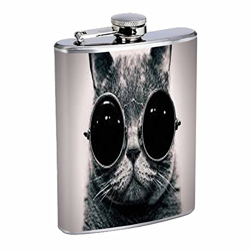 8oz Hip Flask Stainless Steel with Steampunk Vintage Kitt...