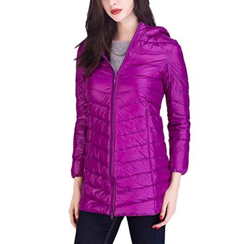 Giacca Purple Marca Colori Lunga Giaccone Mode Cerniera Calda Cappuccio Alta Qualità Solidi Laterali Manica Tasche Con Bolawoo Di Outerwear Donna Piumini Invernali 1wq5pU46