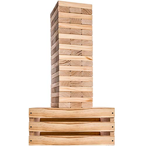 Splinter Woodworking Co. Giant Tower Game | 60 Large Blocks | Storage Crate / Outdoor Game Table | Starts at 32in Big | Stacks up to 5ft in Gameplay | Genuine Jumbo Toppling Yard Games | Backyard Set