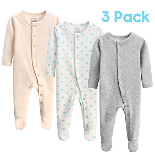 lifely 3 Pack Baby Pajamas Footed Baby Boy Girl Pajamas Cotton Infant Sleeper Footie 0-3 Months Romper Overall Baby Pajama Set Long Sleeve with Sleeve Cuff