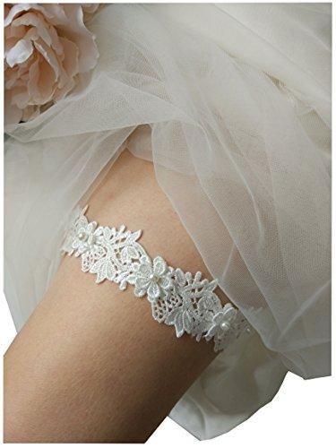 One piece lace bridal garter wedding garter legs garter belt for bridal and bridemaids P17 (Ivory) (Wedding Garder)