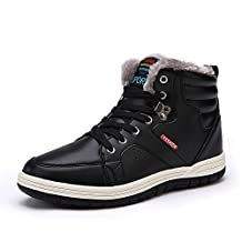 Men's Ankle Boots Fully Fur Lining Waterproof Leather Sport Shoes Lace up Winter Sneakers for Outdoor/Sport /Casual /Daily/Hiking/Winter