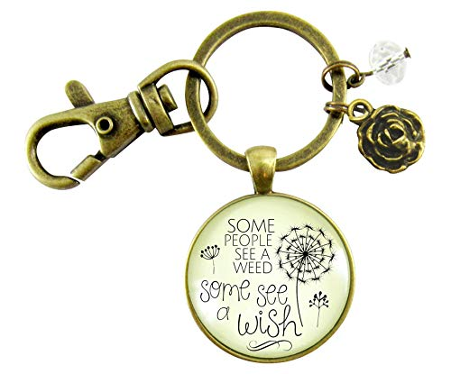 Dandelion Keychain Some See A Wish Or Weed Positive Thinking Inspired Jewelry For Women Pendant Flower Charm