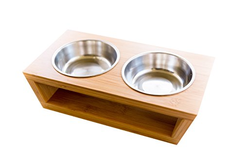 Premium Elevated Dog and Feeder, Double Bowl Raised Stand  with Extra Two Stainless Steel Bowls