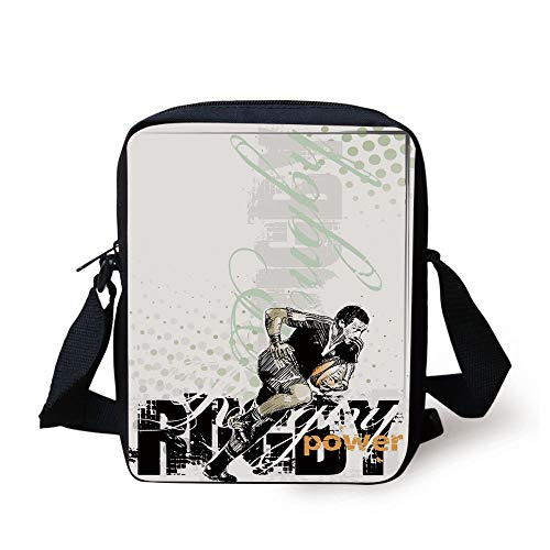 Sports,Sketchy Rugby Player with a Ball Running Power Muscular Strength Challenge Decorative,Black White Orange Print Kids Crossbody Messenger Bag Purse