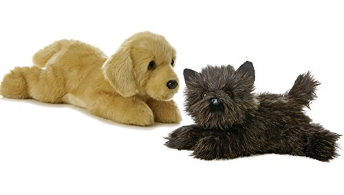 - Aurora World Flopsie Dogs Toto Black Terrier and Goldie Golden Labrador Retriever Set of 2 Plush 12
