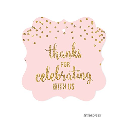 Andaz Press Blush Pink Gold Glitter Girl's 1st Birthday Party Collection, Fancy Frame Gift Tags, Thanks for Celebrating With Us, 24-Pack