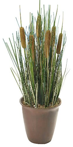 18 in. Artificial Reed Plant with Pot - Cattails and Reed Grass in Red Pot Product SKU: HD222542