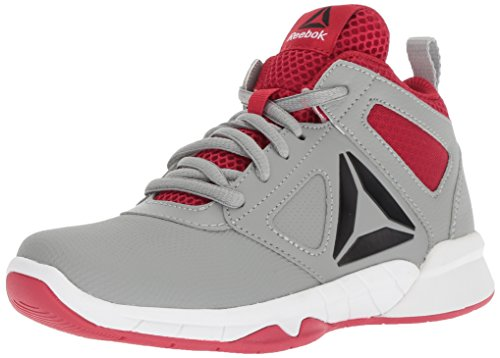 Reebok Unisex Royal Dash N Drill Sneaker, Flat Grey/Flash red/Black, 1 M US Little Kid