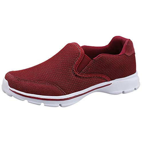 Bravetoshop Women's Fashion Breathable Non-Slip Cushion Sports Shoes Casual Running Shoes Walking Sneakers (Red,40)]()