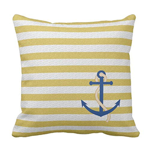 Uwwrticm Throw Pillow Cover Beach Yellow Strip Nautical with Blue Decorative Pillow Case Home Decor Square 18 x 18 Inch ()