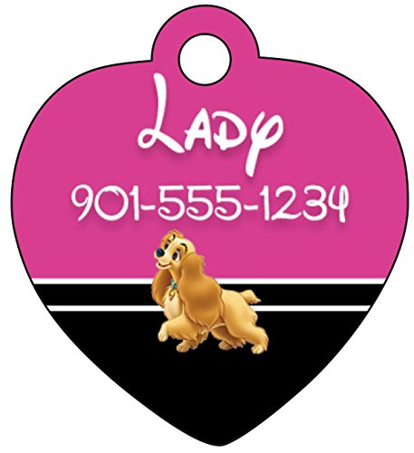 Disney Lady and the Tramp Pet Id Tag for Dogs & Cats Personalized w/ Your Pet's Name & - View The Ladies Names Of On